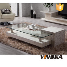 modern marble coffee table with lazy susan