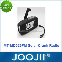 Hot sale power by hand crank and solar fm radio with mobile phone charger and USB/TF card