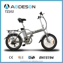 """Best quality and hot sales 20"""" al alloy frame folding electric bicycle/electric bike, TZ202 for kids made in China"""