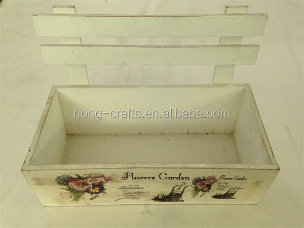 Hot Sale shabby chic french country style flower pot, white wood planter box