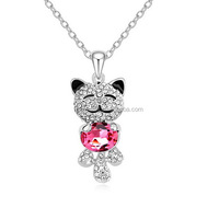 N672 Free shipping jewelry pendant necklace Authentic Austrian Trend crystal 18k gold plated little bear necklaces China