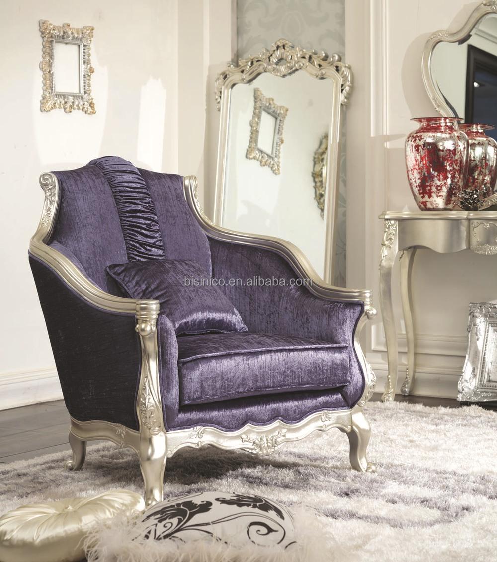 Bisini nieuwe klassieke meubels, blauwe stof woonkamer houten bank ...