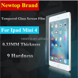 0.33mm tempered glass screen protector for ipad mini 4 , 9H tempered glass film for ipad mini 4
