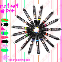 Acrylic UV Gel Design 3D Paint Tube Nail Art Pen 16 Colors Nail Polish False tips Drawing Pen