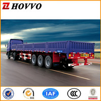 3 axle flatbed cargo semi trailer with sidewall with bogie or air bag suspension