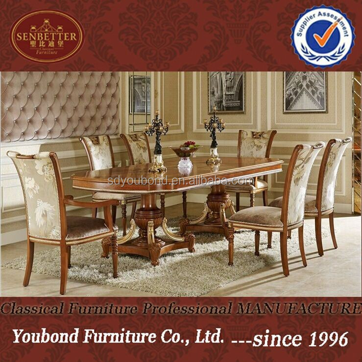 0062 italian classic dining room sets luxury golden wood for Italian dining room sets