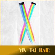 30cm Halloween costume faux hair extension straight rainbow clip on wild rainbow costume hair extensions