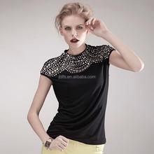 Heavy sequins rivet nail bead black t-shirt