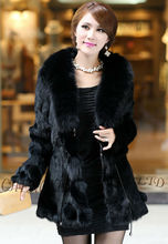 CX-G-A-208A Genuine Rabbit Fur With Fox Fur Collar Long Coats For Woman
