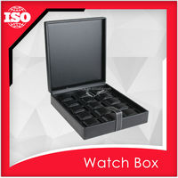 Hinged black leather watch box by supplier