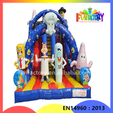 Spongebob squarepants inflatable slide , Christmas inflatable water games, Dry/Wet inflatable slides