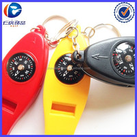 New Product 4IN1 Compass Thermometer Whistle Magnifier keyring