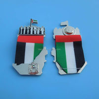 UAE map and falcon ribbon badge gifts, UAE flag sheikh map falcon national day brooch badge pins