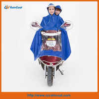 190T polyester motorcycle poncho/rain poncho with two hats