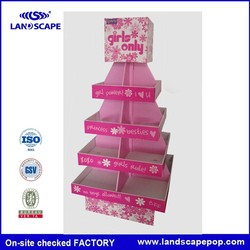 Pink Double sides four tiers cardboard candy display stand in Wal-Mart