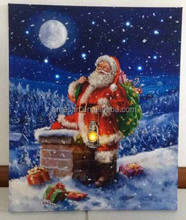 Christmas light decoration made in china in bulk Santa Claus led printing canvas