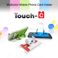 Newly easy to use 3M sticker phone holder, silicone smartphone stand holder with card pocket