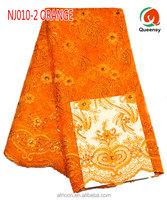 2015 delicate NJ010-2 orange french lace wedding dress fabric/net lace fabric