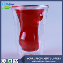 Hot Selling Beautiful Nude Lady Novel Sexy Shot Glass Cup/Naked Women Double Layer Glass Cup
