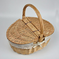 small and large wicker storage basket with lid