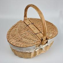 Pequeno e grande cesta de vime armazenamento com tampa