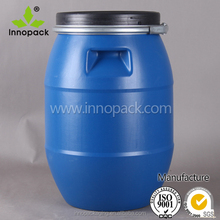 wholesale HDPE 30L plastic drum with iron hoop for chemical packing