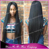 Top 7A Quality! #1b extra long silk straight malaysian virgin lace front wig with baby hairs