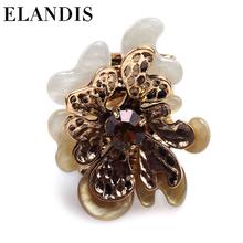 Christmas Festival Best Girft For Women Fashion Vintage beige Acrylic Leaf Ring