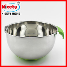 Stainless steel Silicone anti-slip bottom salad bowl with green handle