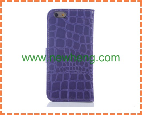Fashion style colorful Crocodile leather case for iphone 6, for iphone 6 Crococile leather case