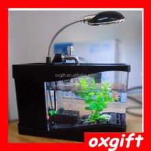 OXGIFT Multifunction Electronic USB desktop fish tank mini USB aquarium with pen holder
