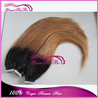 High Quality 7A! 300gram two tone #1b/27 silk straight virgin peruvian tape hair extension ombre skin weft