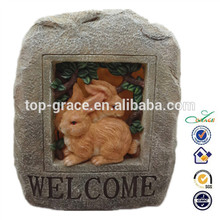 la bienvenida a conejo solar del jardín decoración