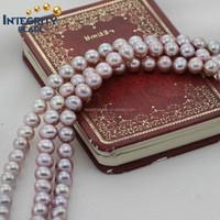 2015 model design purple color 7.5-8mm AAA grade pearl strand necklace