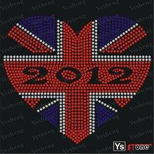 [A8012] 2012 UK flag iron on rhinestone motif designs