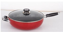 aluminum non-stick red outer coating wok pan