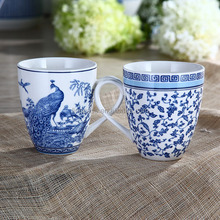 11OZ Elegant New Bone China Blue and White Tea Mug of Blue in China