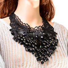 New Design Shirt Collar Fake Lace Cloth Accessories Crystal Black Necklace Statement
