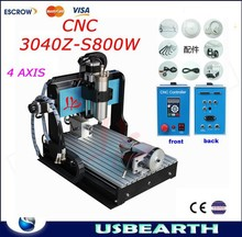 2015 newest! CNC woodworking carving machine,4 axis CNC router 3040 Z-S with 800W spindle,work for PVC,aluminum,metal