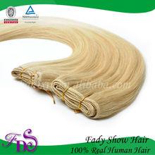 top quality light color 613# silk straight human hair blonde brazilian hair weaving