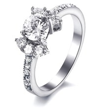Christmas Gift silver plated fine jewelry women wedding ring with cz