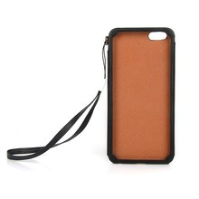 Hand strap full protect PU phone case for iPhone 6