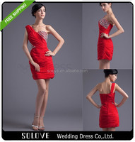 One Shoulder Sheath Knee Length Red Puffy Cocktail Dress(SL-C004)