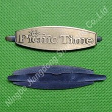 bronze pin metal tag/badge for bags and boxes