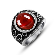 SS079 Fashion Red Stone Women Luxury Design 316 Stainless Steel Titanium Ring