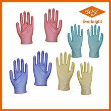 LIGHTLY POWDERED DISPOSABLE VINYL PVC GLOVES, CLEAR, BLUE, BLACK OR COLOR CUSTOMIZED