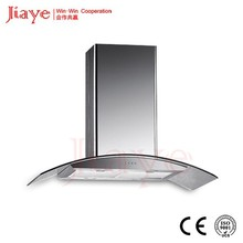 Jiaye best selling kitchen island hood, most popular star type island range hood with curved glass canopy JY-HI9003