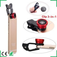 Black Universal Clip-on 180 degree 3 in 1 Fisheye+Wide Angle+Macro Camera Lens for iPhone 5 5S 4 4S 6 Samsung