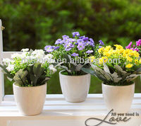 Artificial Potted Plant,High Simulation Milan Flower With Ceramic Vase Set