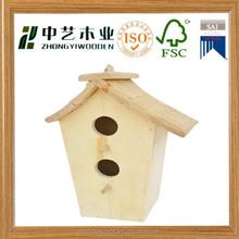 natural FSC wooden mini birdhome fairy garden house decorative pet house bird home